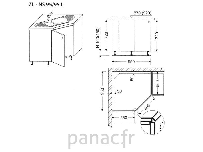 meuble d'angle sous-évier zl-ns 95/95 l - Meuble De Cuisine D Angle