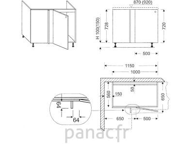 Meuble d'angle sous-évier ZLN-115 DP