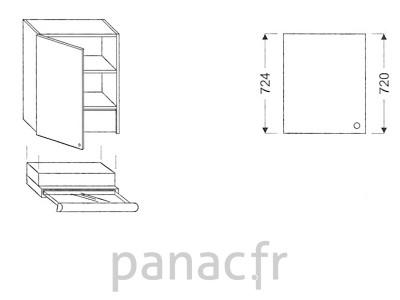 Meuble haut de cuisine OK-60/724 L SLIM